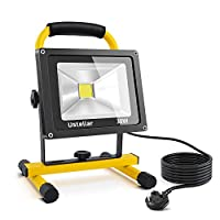 Ustellar 30W LED Work Light DEKRA Tested,2400lm (200W Equivalent), Non-Rechargeable, 5m Wire with Plug, IP65 Waterproof Construction Site Lights, Outdoor Stand Detachable Flood Light, 6000K Daylight