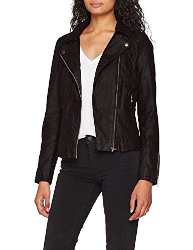 ONLY Damen Jacke onlSAGA Faux Leather Biker CC OTW, Schwarz Black, 40