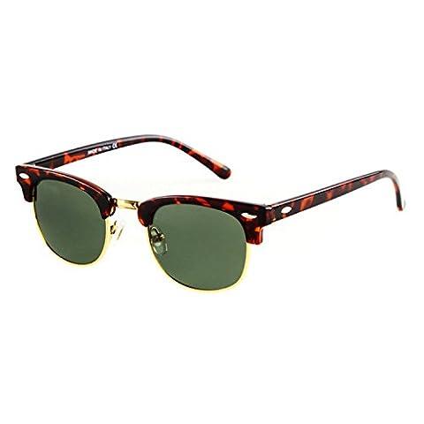 Oath_song Half-frame Metal Rimmed Gold-toned Studded Wayfarer 49mm Sunglasses (C8-leopard+G15green)