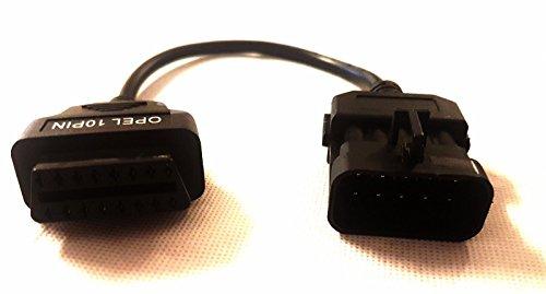 MyCor-Media Adapter für Opel OBD1 10 PIN auf OBD2 16 Pin Stecker Diagnose Adapter Kabel