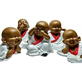 [Sponsored]Global Grabbers Child Monk Buddha Baby Monk Showpiece Statue Idol Figurine Set Of Five For Decoration And Gift | 14cm In Height 15cm In Length 7cm In Breadth