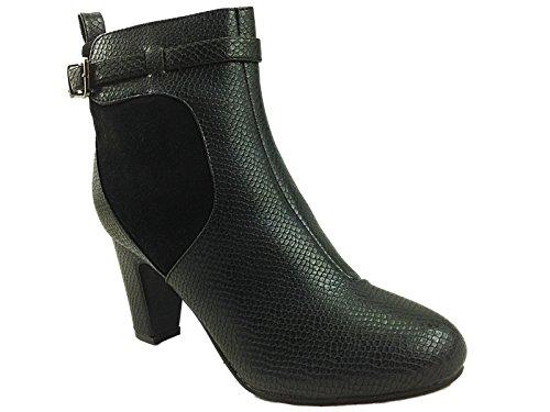 Ladies Cushion Walk Felicity Black Snakeskin Effect Mid Block Heel Zip Chelsea...