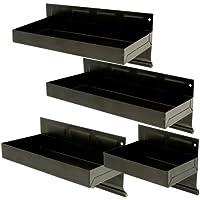 Silverline 868873 - Juego de bandejas magnéticas (4 piezas), color negro