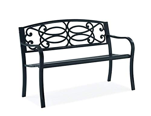 Fineway. Stylish 2 Seater Cast Iron Garden Outdoor Back Park Bench Seat Furniture - Loveseat Conservatory, Patio, Lawn or Garden Seat (Scroll Design -Black)