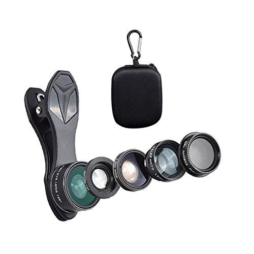 D DOLITY Universal Clip mit 198 Fischaugenobjektiv + 0,63 X Weitwinkelobjektiv + 15 X Makroobjektiv + 2 X Teleskopobjektiv + CPL-Objektiv für Smartphones iPhone 7 6s / 6 plus / 5 / 5s, iPad