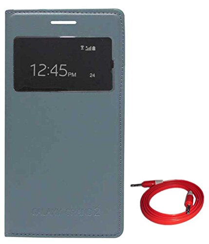 TBZ S-View Flip Cover Case for Samsung Galaxy Grand 2 with AUX Cable -Grey  available at amazon for Rs.379