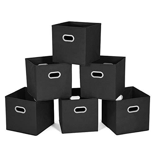 MaidMAX Aufbewahrungsbox aus Stoff im 6er-Set, Aufbewahrungskorb ohne Deckel, Ordnungssystem Stauraum Boxen, Flexible Aufbewahrungskiste für Regal Schrank- Schwarz