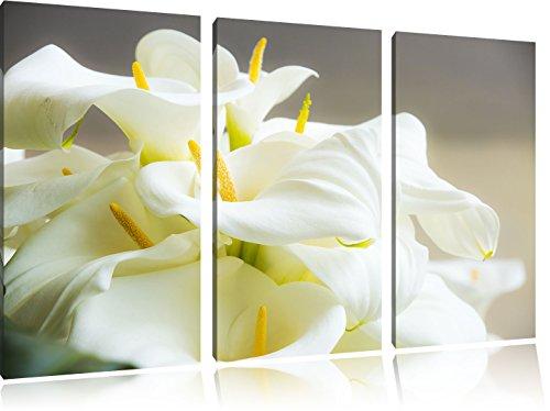 Wunderschöne weiße Calla Lilien 3-Teiler Leinwandbild 120x80 Bild auf Leinwand, XXL riesige Bilder fertig gerahmt mit Keilrahmen, Kunstdruck auf Wandbild mit Rahmen, gänstiger als Gemälde oder Ölbild, kein Poster oder Plakat
