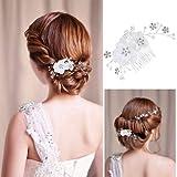 Rosenice, fermaglio per capelli a clip nuziale in charm cristallo strass con perle decorative