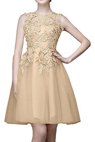 La_mia Braut Beige Kurzes Mini Abendkleider mit Spitze Ballkleider Cocktailkleider knielang tanzenkleider Champagner