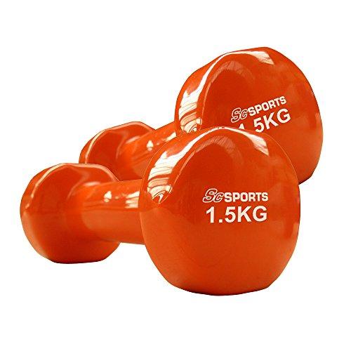 Vinylhanteln 2er Set 0,5 kg / 1 kg / 1,5 kg / 2 kg / 3 kg / 4 kg / 5 kg Gymnastikhanteln Hanteln (1,5 kg)