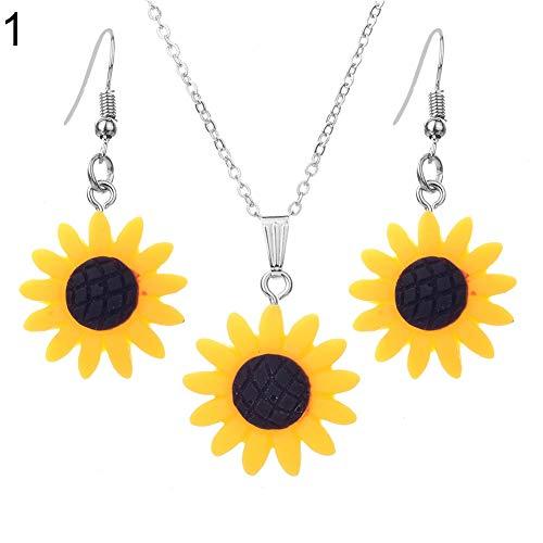 FEIDA Sonnenblumen-Design Ohrringe + Halskette Anhänger baumelnd Haken Mode für Frauen Mädchen Schmuck Set gelb