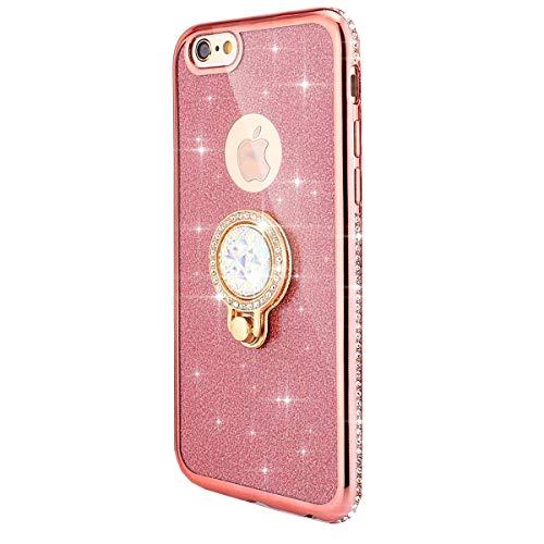 kompatibel mit iPhone 5S Hülle,iPhone SE Hülle,[Ring Ständer] Glitzer Diamant TPU Silikon Hülle Kristall Strass Bumper Silikon Handytasche Handyhülle Schutzhülle für iPhone SE/5/5S,Rose Gold (Iphone 5s Case Gold Diamant)