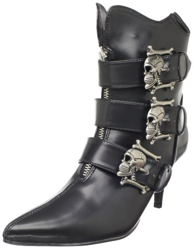Demonia FURY-06, Damen Kurzschaft Stiefel, Schwarz (Schwarz (Blk Nappa Vegan Leather)), 39 EU (6 Damen UK) (Heel Boot Ankle High Nappa)