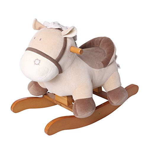 labebe Baby Rocking Horse Wooden, Plush Rocking Horse Toy, Khaki Donkey Rocking Horse for Baby 1-3 Years, Baby Wooden Rocking Horse/Baby Rocker/Garden Rocking Horse/Indoor&Outdoor Rocking Horse Toy