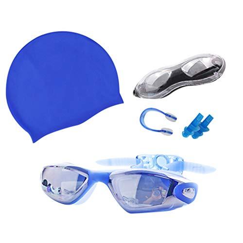 VRTUR Schwimmbrillen für Erwachsene, Schwimmbrille mit Antibeschlag und UV Schutz, Badekappe,Ohrstöpsel & Nasenklammern mitgeliefert, für Männer Frauen Kinder