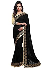 8604024076 Mirchi Fashion Women Lace Work Party Traditional Indian Bollywood Designer  Saree with Unstitched Blouse Black