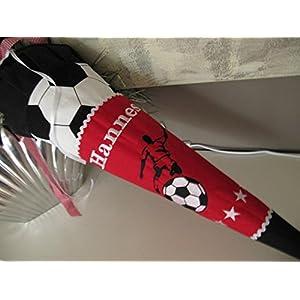Fussball Kicker Fussballer rot schwarz Schultüte Stoff + Papprohling + als Kissen verwendbar