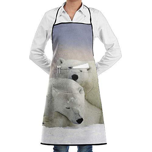 Küche, die Garten-Schürze kochtn, Bib Apron with Pockets Winter Snow White Polar Bear Durable Cooking Kitchen ()