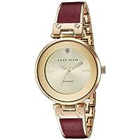 ساعة بسوار ستانلس ستيل للنساء من ان كلاين Burgundy/Gold