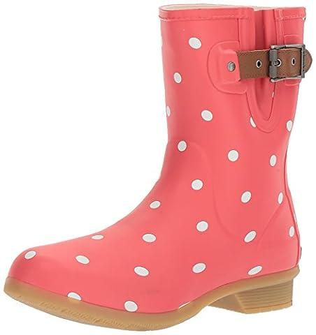 Chooka Women's Memory Foam City Printed Mid Waterproof Rain Boot, Lottie Dot Black Watermelon, 9 M US