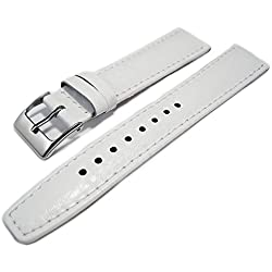 White Buffalo Grain Genuine Leather Padded Watch Strap Band 18mm