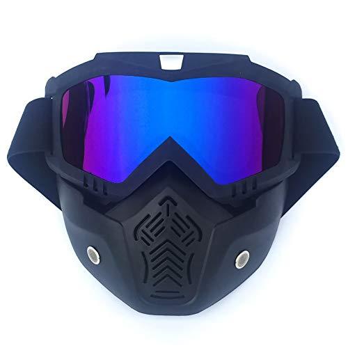 QXTKHW Motorrad Brille Mit Abnehmbarer Gesichtsmaske Harley Stil Helm Nebelfest Winddicht Reiten Sonnenbrille, 3