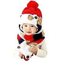 Gorros Bebé,Xinan Niño Niña Invierno Sombrero Tejido de Lana (Rojo)