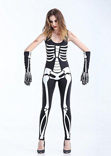 DuuoZy Paar-erwachsenes reizvolles Skeleton Druck Overall-Abendkleid Cosplay Zombie-Kostüm für Frau und Mann , m , female