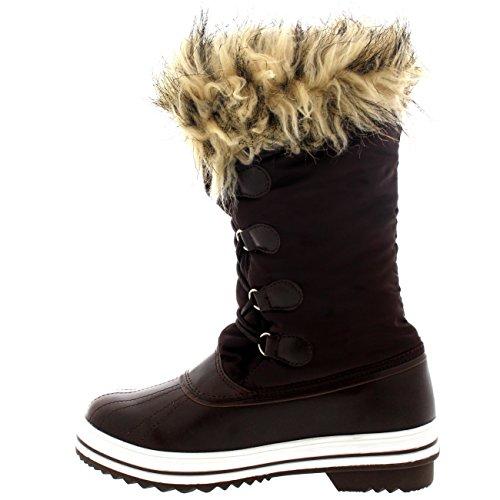 Damen Nylon Warm Pelz Trim Ente Regen Schnee Im Freien Tall Winter Regen Stiefel Braun