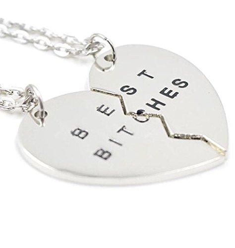 Veuer Schmuck für Damen für Mädchen Freundschafts-kette Herz Puzzle 2 Hals-Ketten Best Bitches Silber farben. Geschenk zu Weihnachten für beste Freundin