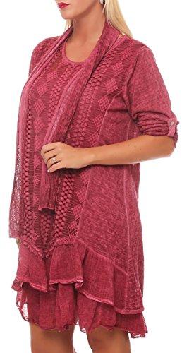 malito Damen Strickkleid mit Schal | Maxikleid mit Spitze | schickes Freizeitkleid | Pullover