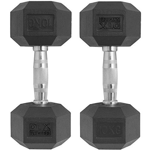 DTX Fitness Manubri di Gomma con 2X Pesi esagonali da 10 kg