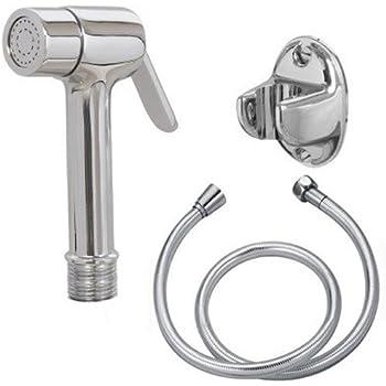 SHRUTI Brass Health faucet + 2 Mtr Flexible Full CP Tube +Abs Chrome Plate Stand - 1172 1167
