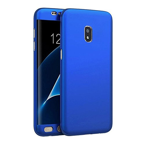 "HRV Full Body""360 Degree"" Protection Ultra-Slim Fit Light-Weight Front and Back Case Cover with 0.3mm HD+ Tempered Glass for Samsung Galaxy J7 Pro (Blue)"