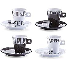 Zeller 26540 Coffee Style - Juego de tazas de café (8 piezas, porcelana), color blanco y negro