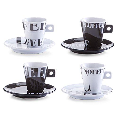 Zeller 26540 Coffee Style - Juego de tazas de café (8 piezas, porcela