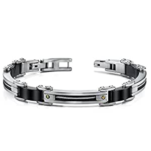 Revoni Stainless Steel Mens Bracelet with twisted cable and 18 Karat Gold Rivets