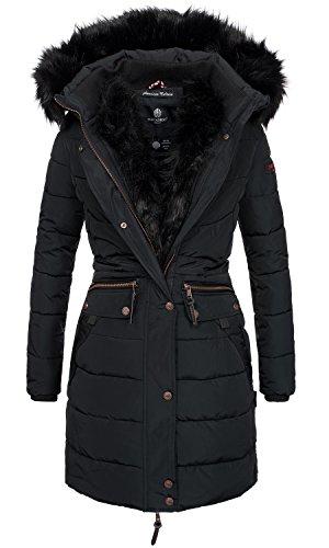 Navahoo Damen Winter Jacke Mantel Parka warm gefütterte Winterjacke B383 [B383-Paula-Schwarz-Gr.M] (Gesteppte Jacke Frauen Schwarz)