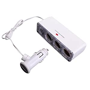 White Three-Way Car Cigarette Lighter Socket Splitter / Automotive Socket Extender w/ USB Port