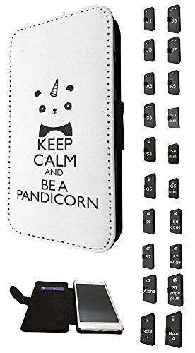 Flip Samsung Gucci Galaxy Case S5 (002784 - Keep Calm And Be A Pandicorn Design Samsung Galaxy S5 i9600 / S5 Neo TPU Leder Brieftasche Hülle Flip Cover Book Wallet Credit Card Kartenhalter Case)