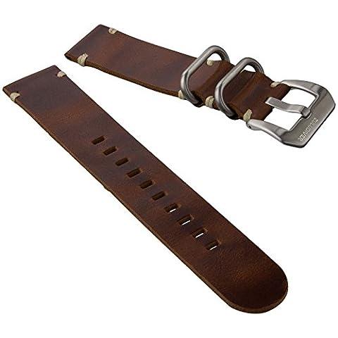 ZULUDIVER® Genuine Leather Watch Strap 2 Piece ZULU Brown (Rolex In Acciaio Inossidabile Oyster)