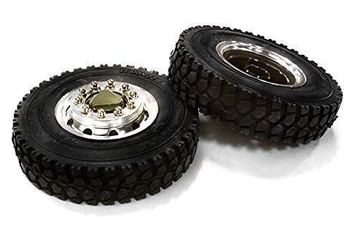 INTEGY RC Model Hop-ups c26582gun machined Alloy T6 Front Wheel & xD Tire Set for Tamiya 1/14 Scale Tractor Trucks