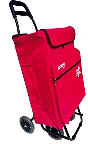 Bastilipo Julia 7081 Carro de la Compra de 4 50 litros con Bolsa térmica y Ruedas Plegables-Rojo, Normal
