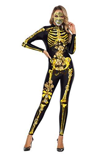 URVIP Halloween Kostüm Damen Bodycon 3D Skelett Unheimlich Langarm Gespenstisch Party Cosplay Kostüm WB142-001 L (Adult Halloween-kostüme 2019 Ideen)