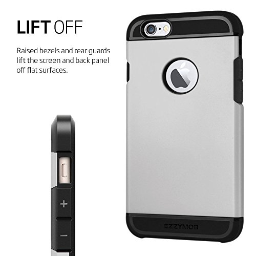 iPhone 6 Fall und iPhone 6 Plus Schutzhülle, ezzymob® Heavy Duty, Ultra Slim Hybrid Armor Hülle, stoßfest TPU Gummi und Polycarbonat für Apple iPhone 6/6S und Apple iPhone 6 Plus. iPhone 6 (4.7-inches) Silver