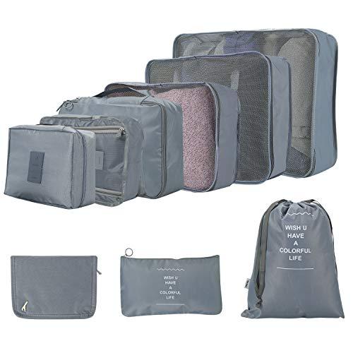 Ulikey Koffer Organizer Set 9 Teilig, Reisen Organizer Tasche Kleidertaschen für Kleidung Kosmetik Schuhbeutel Kabel Aufbewahrungstasche, Kofferorganizer Packtaschen Packwürfel