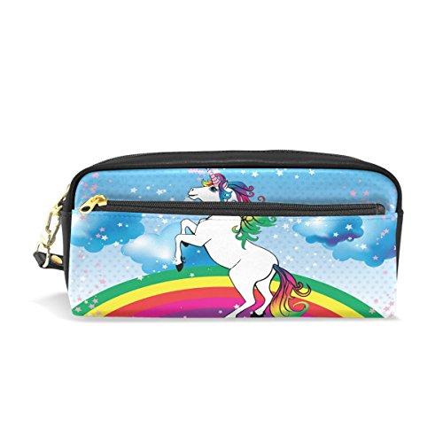 COOSUN Unicorno con una pelle PU portatile Arcobaleno e motivazione Citazione Pencil Case Penna della scuola Sacchetti stazionari della cassa del sacchetto di grande capienza del sacchetto dell'este
