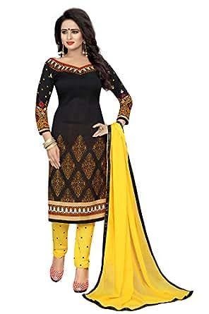 Urban India Black French Crepe Printed Dress Material