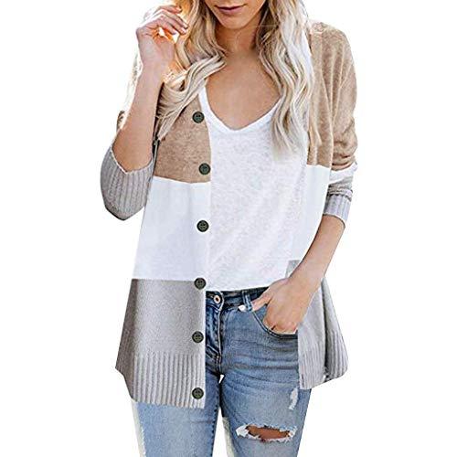 ❤Inawayls❤ Damen Cardigan Pullover Langarm Rainbow Kontrastfarbe Strickmantel Sweatjacke Pulli Mantel Stricken mit Knopf -